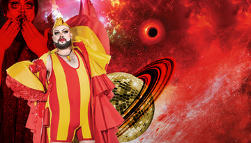 A colourfully dressed person standing against a backdrop of a red sky and a red, ringed planet.