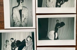 A collage of black and white polaroid pictures showing different people dressed smartly.