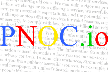 PNOC.io with faded words in the background