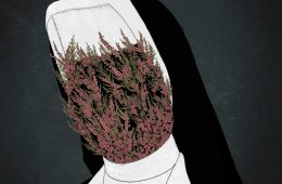 A nun with flowers growing over their face