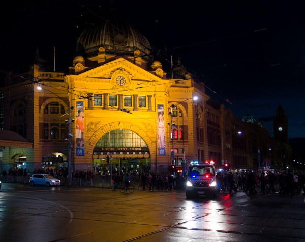 Melbourne at night on the move