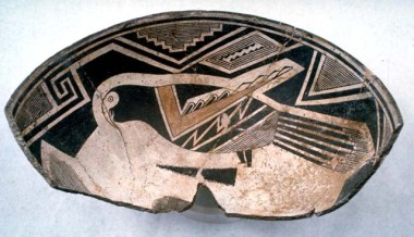 Partial Mimbres Classic Black-on-white bowl with a scarlet macaw, identifiable by the white area around the eye (from the National Museum of Natural History, Smithsonian Institution).