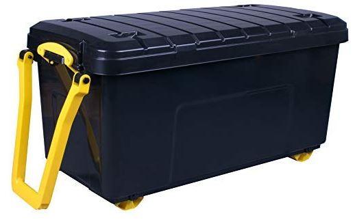 caisse de rangement a roulettes 160 litres noir jaune really useful box