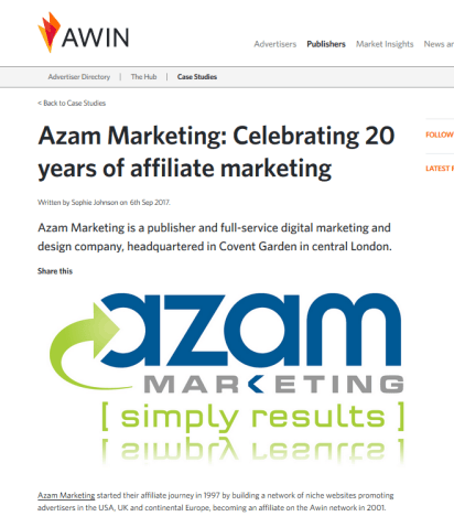 Affiliate network Awin interviews Nadeem Azam in their blog