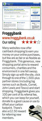 Scan from Web User magazine which selected FroggyBank.co.uk as one of their 'Best New Sites'