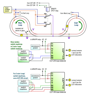 Automatic reversing loop conrol for DC, DCC or AC dogbone