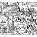 Kral Sigurd ve Askerleri Miklagard'a Girerken, Gerhard Munthe'nin Heimskringla'ya yaptığı çizim.