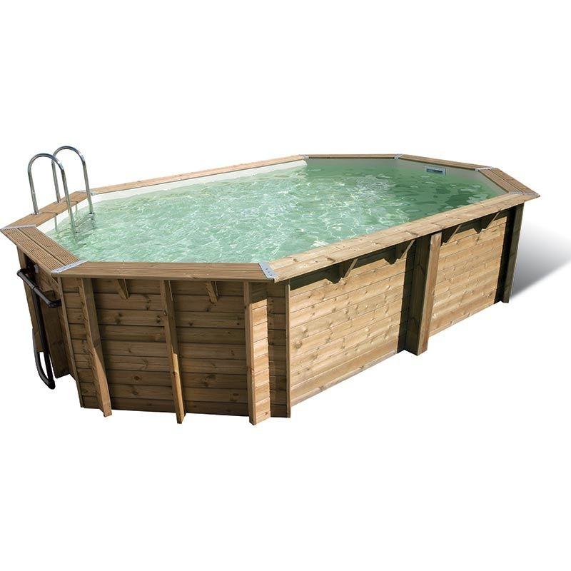 piscine en bois octogonale ocea 5 50 x 3 55 x h1 20m ubbink coloris du liner bleu