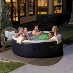 spa intex pure spa blue navy bulles 6 places luxe