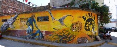 Lekker kleurrijke muurschildering. Acapulco