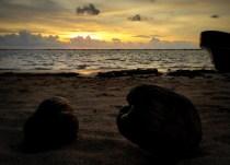 Sunrise op Tobacco Caye.