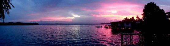 Pink sunset. Old Bank, Isla Bastimentos (Panama)