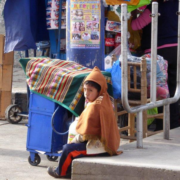 Jonge verkoper heeft er nog niet zo veel zin in. Huaraz