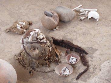 De bizarre mummies met mega dreads van Chinchilla cemetery.