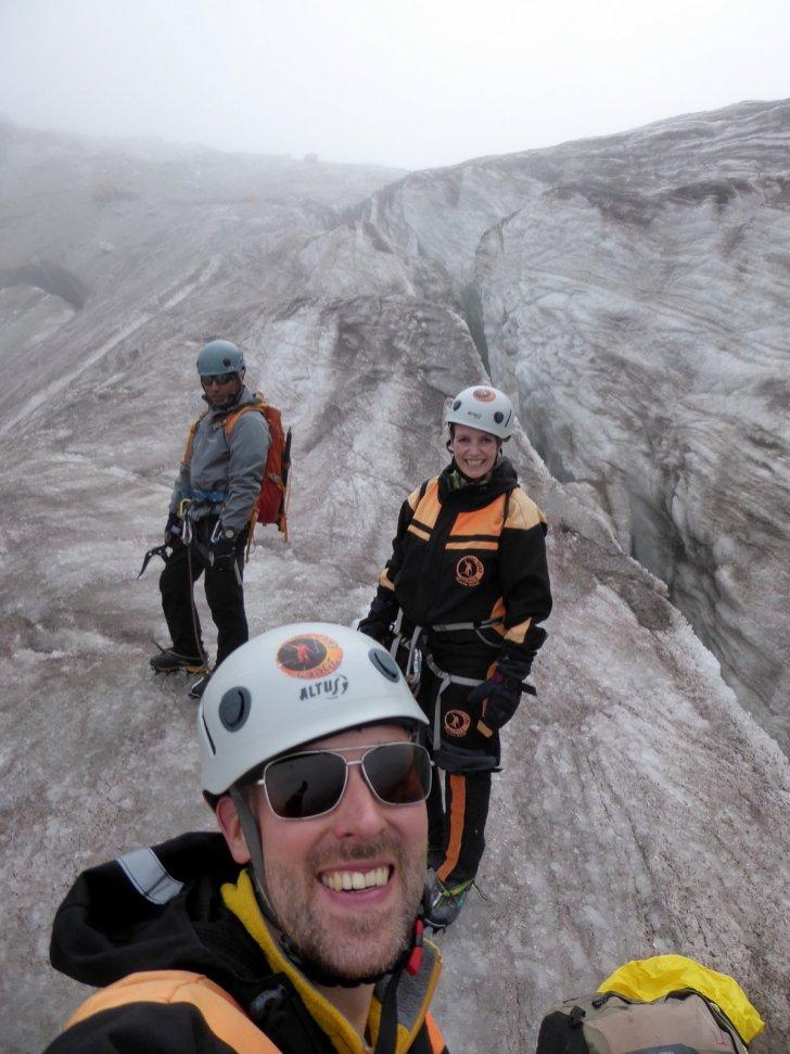 Hep'ie us op de oefen gletsjer. Huayna Potosí