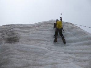 Bijna op de top.... van de oefen gletsjer... Huayna Potosí