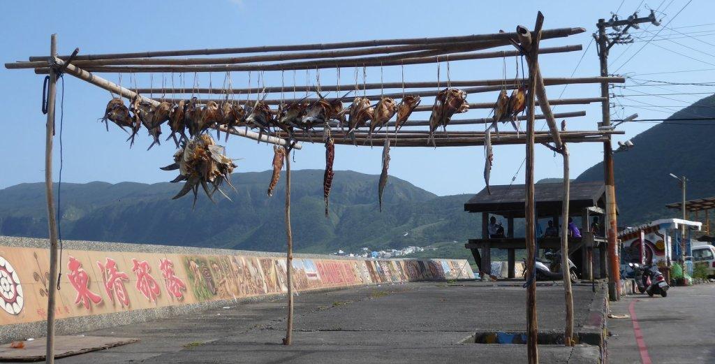 De visvangst hangt te drogen. Lanyu island