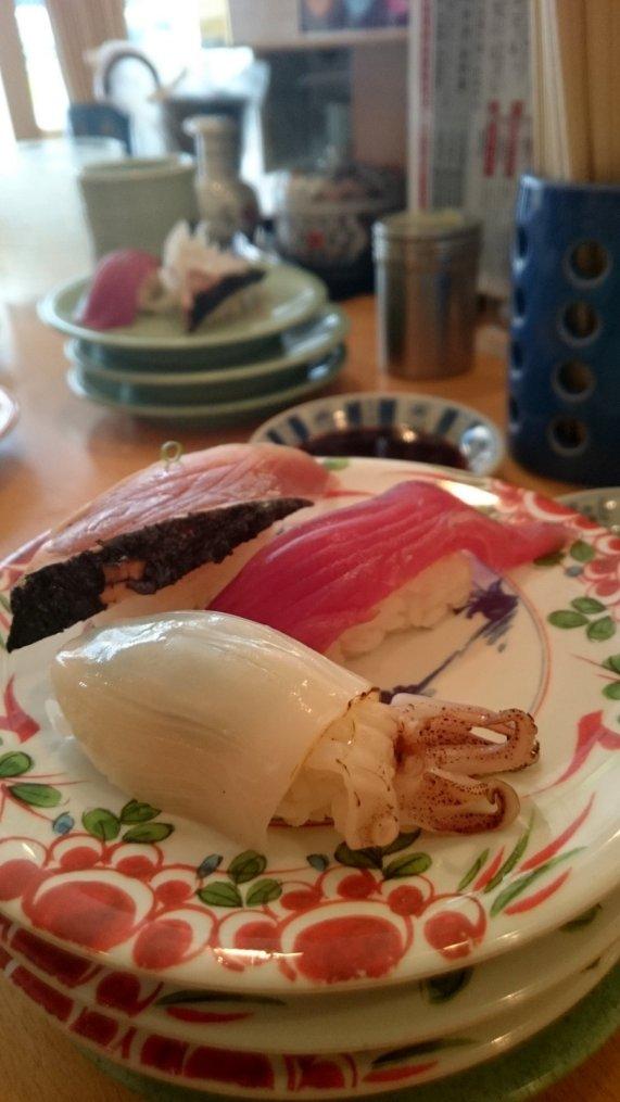 Onszelf even welkom heten in Japan. Sushi! Fukuoka, Japan