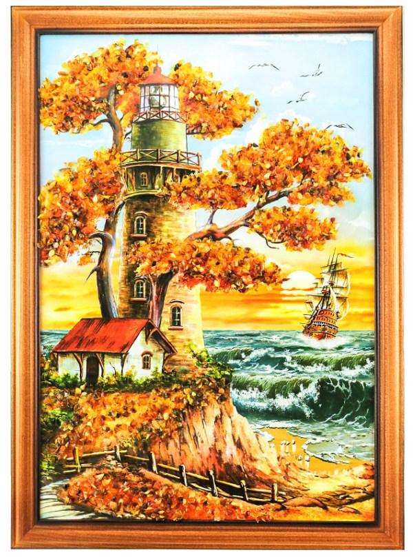 Картина с маяком и домиком на скале