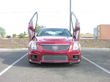 Customized Red Cadillac with Wing Doors