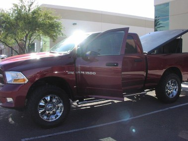 Customized Red RAM 1500 Pickup Truck
