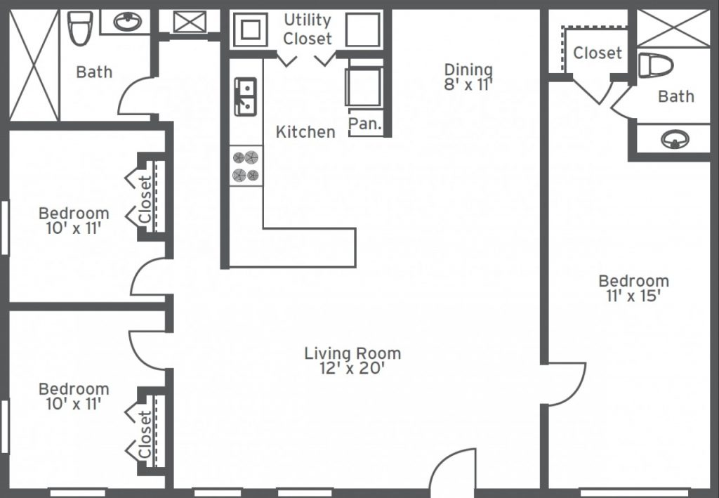 2 Bed 2 5 Bath Floor Plans Dimensions
