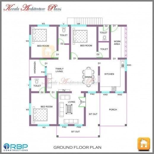 Kerala Style 3 Bedroom Single Floor House Plans Unique Fantastic 4