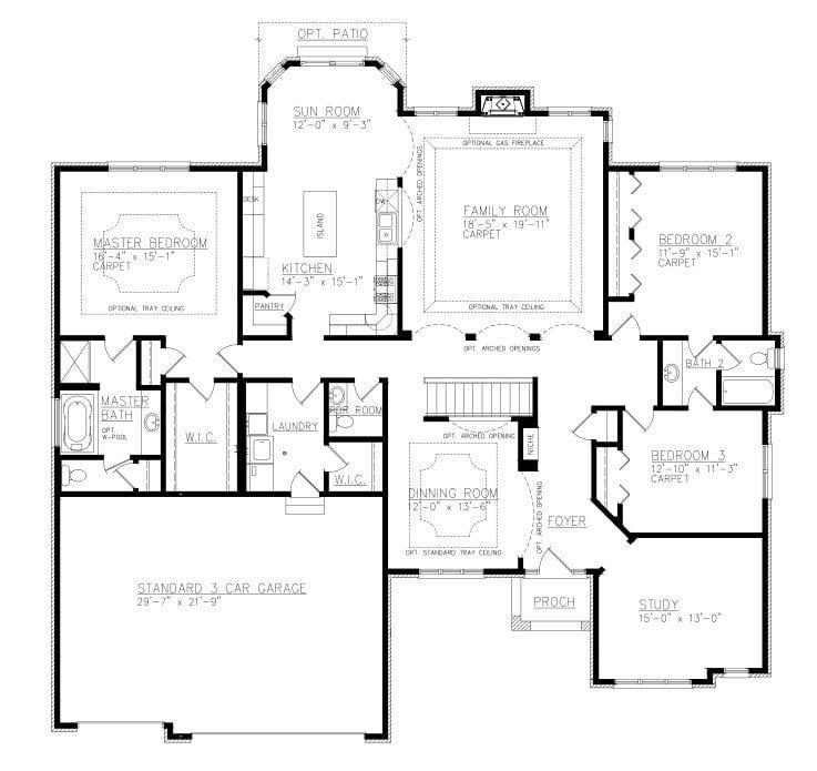 Jack and jill bathroom arrangements for Ranch house plans with jack and jill bathroom