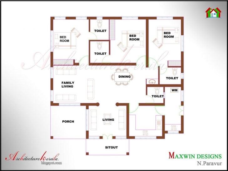 Unique Single Floor 4 Bedroom House Plans Kerala