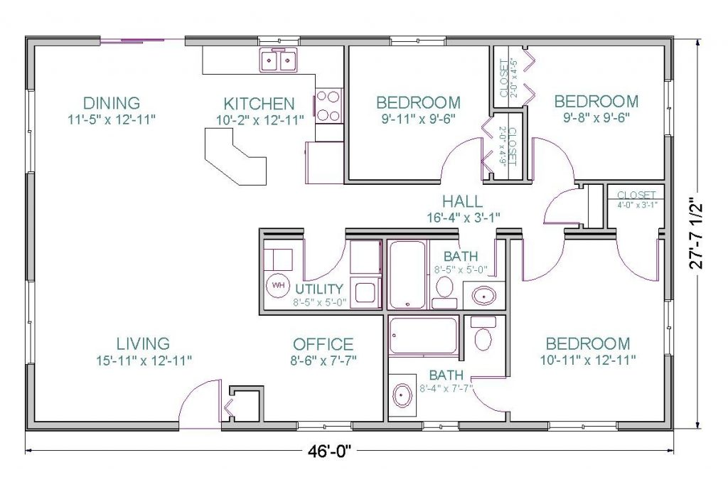 Efficient open floor house plans for Ranch style house plans without garage