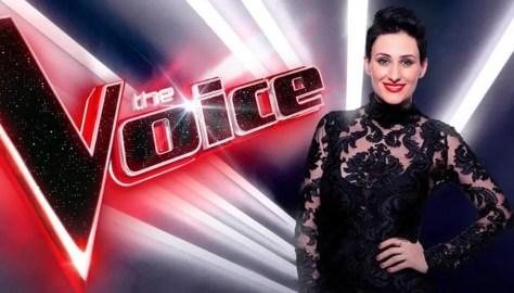 The Voice Australia 2019 winner Diana Rouvas singer in black evening dress logo background