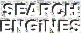 Search engines logos icons emblems white type font shadow banner 2014