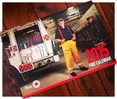 Sunrise 2015 Fire Calendars firefighters fireman volunteer firies Red Cross fundraising charity fire services truck