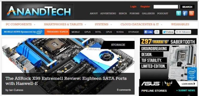 AnandTech.com official website screenshot 2015 technology PC components systems photos crop