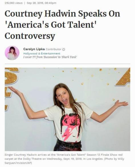 Courtney Hadwin speaks on America's Got Talent controversy Forbes news story by Carolyn Lipka 2018 teen singer photo