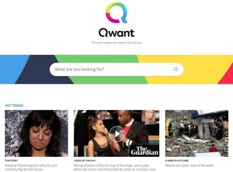 2018 Qwant internet search engine 2018 website screenshot photos