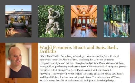 World premiere Stuart & Sons piano Bach & Alan Griffiths at Beleura