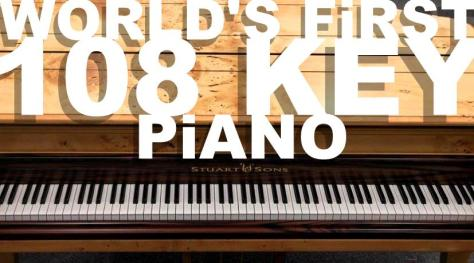 World's first 108 key piano by Stuart & Sons handcrafted Tasmanian Huon pine timber keyboard 2018 white type