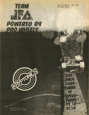 Kryptonics Ad Thrasher Magazine 1987 - JFA Brian Brannon Frontside Tail Block at Hohokam Banks
