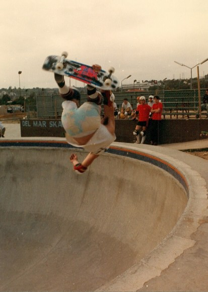 Snapshot of Jeff Phillips Mid Mctwist at Del Mar Skate Ranch. 1985. Photo: Waters