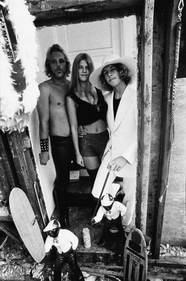 Tony 'Pimp' Alva hangin' with surfing innovator and millionaire playboy Adolph 'Bunker' Spreckels III. And some bird.
