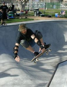 Frontside air out of the deep end a on a classic Cab mini deck.