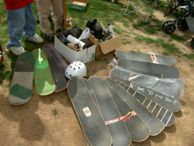 Here is all the swag that was donated to the local kids. It's enough to open a dang skateshop. Photo: Fireman Matt