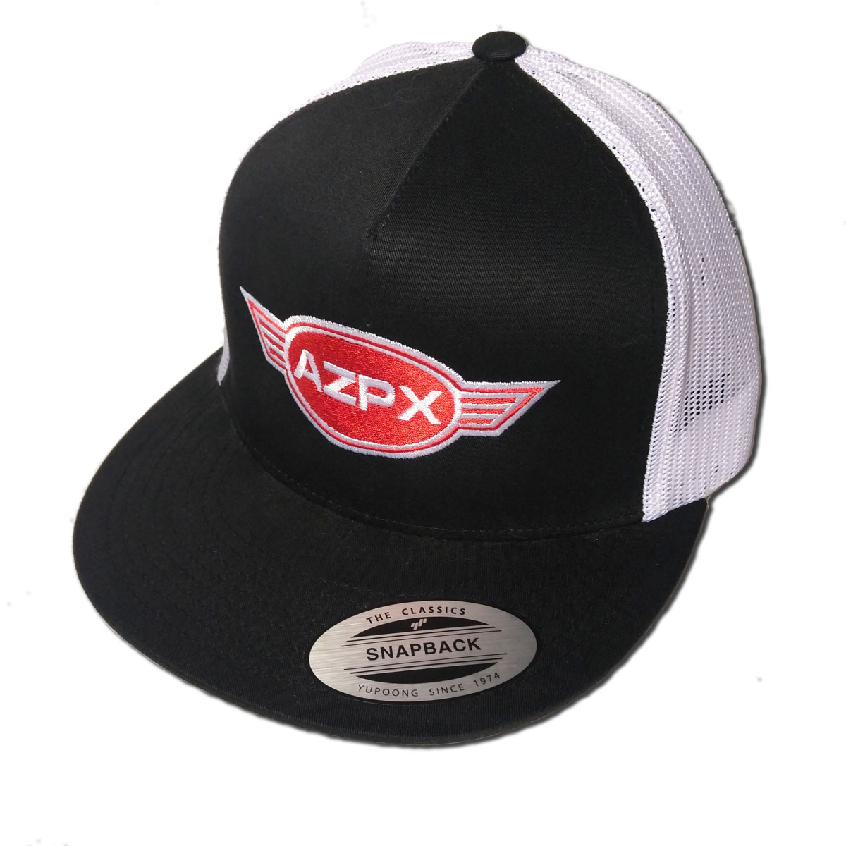 AZPX Embroidered Mesh Trucker Hat Black/White