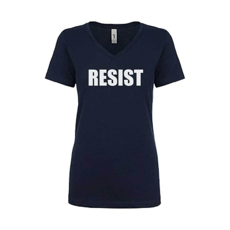 RESIST T-shirt Black Ladies V-neck
