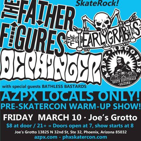 #azpx #records out in full-force this Friday for the #phxskatercon kick-off! #thefatherfigures #dephinger and #theearlygrabs are all bringing their A-game to Joe's Grotto. March 10/8 bux #arizona #punx
