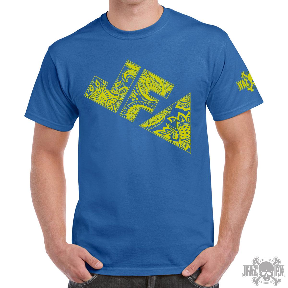 JFA Paisley – Yellow on Blue T-shirt