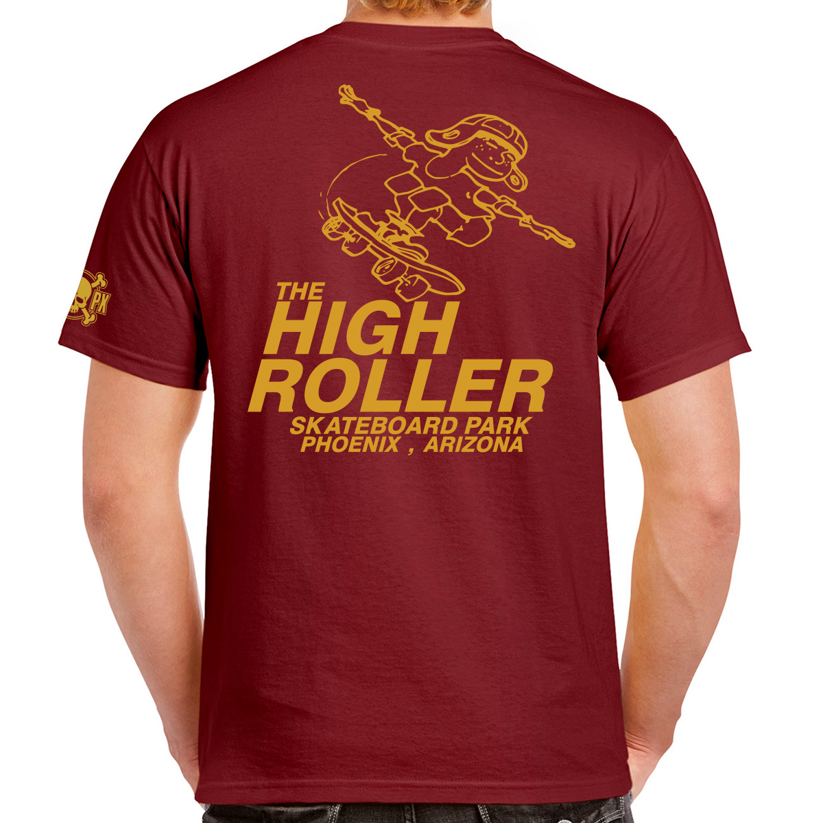The High Roller Skateboard Park Maroon Short Sleeve T-shirt