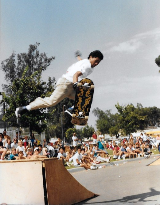 Tommy Guerrero blasting a Frigid Air at a Life's a Beach contest in California 1987 Photo: Mike Sola