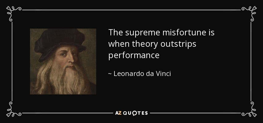 Image result for leonardo da vinci theory outstrips performance